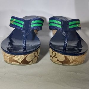 Coach Signature Logo Blue and Green Wedge Sandals